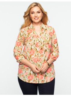 Painted-Floral Print Nantucket Shirt