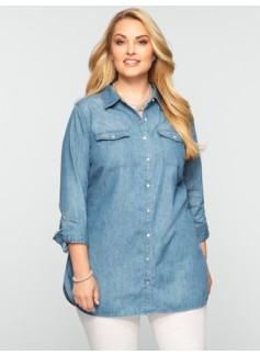 Tunic Length  Denim Shirt