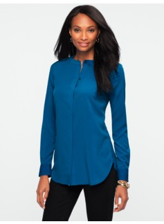 Banded-Collar Tunic Shirt