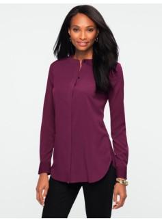Banded-Collar Tunic Shirt