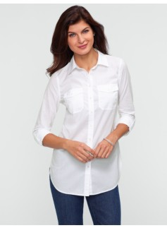 Tunic-Length Cotton Lawn Shirt