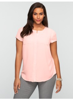Short-Sleeved Band-Collar Shirt