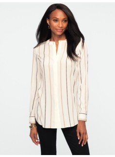 Stripe Banded-Collar Tunic Shirt