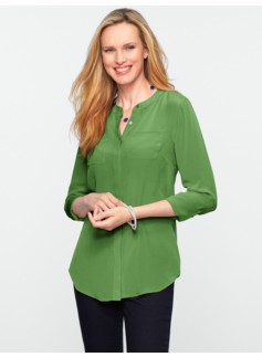 Washable Silk Band-Collar Shirt