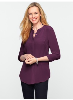 Washable Silk Band-Collar Shirt