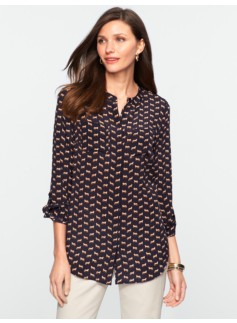 Fox Print Washable Silk Band-Collar Shirt