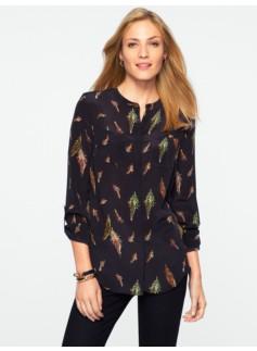 Washable Silk Falling Feathers Band-Collar Shirt