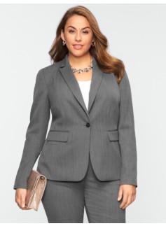 Dobby-Weave Single-Button Jacket