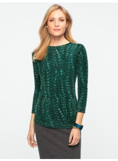 Cashmere Audrey Feather-Print Sweater