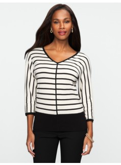 Dolman V-Neck Yarn-Dyed Striped Sweater