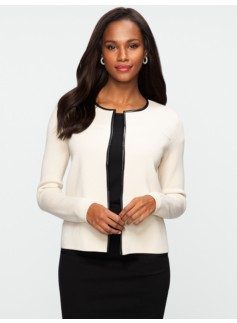Faux-Leather Trimmed Cardigan