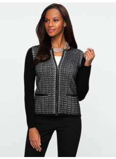 Talbots Merino Faux-Leather Trimmed Herringbone Tweed Cardigan