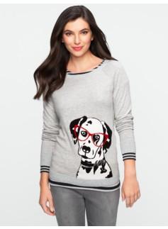 Talbots Comfy Intarsia-Knit Dalmatian Sweater