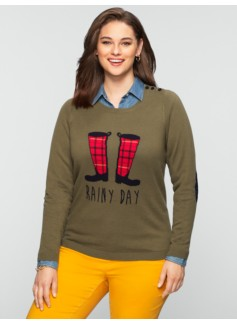 Talbots Comfy Rainy Day Shoulder-Button Sweater