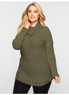 Mixed-Stitched Turtleneck