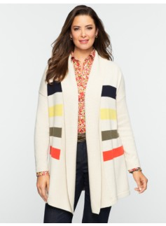Talbots Cozy Stadium Stripes Shawl-Collar Cardigan