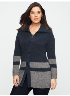 Winter Tweed Colorblocked Cardigan