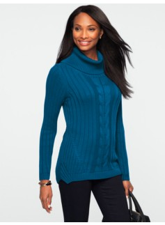 Ribbed & Cable Cowlneck Sweater