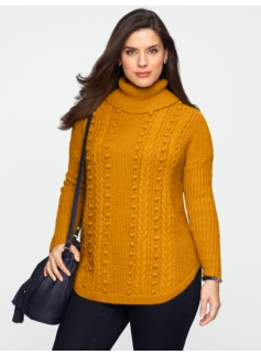 Mixed-Stitched Curved-Hem Cowlneck