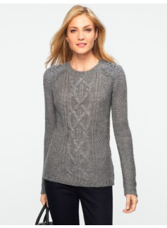 Cable & Diamond-Stitched Lace Trim Sweater