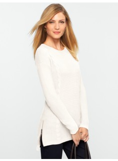 Talbots Comfy Side-Zip Ribbed & Cable Sweater