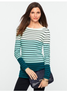 Cashmere Colorblocked Engineered Stripes Sweater