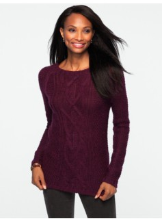 Cable & Diamond-Stitched Sweater