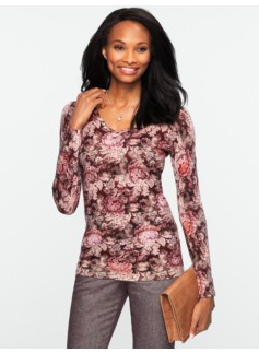 Merino Rose Tapestry V-Neck Sweater