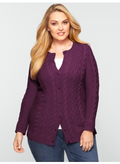 Cable Button-Front Cardigan