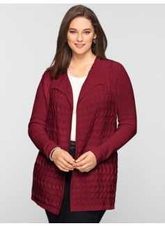 Horizontal-Cable Long Cardigan