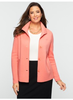 Talbots Merino Stand-Collar Sweater Jacket