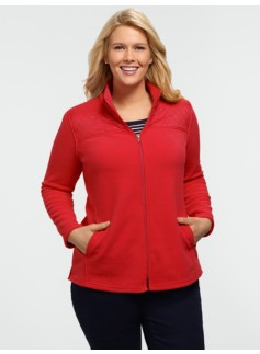 Quilted-Yoke Fleece Jacket