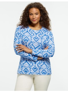Pima Cotton Baroque-Print Crewneck Tee