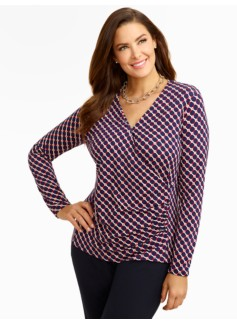 Platinum Jersey Dot- & Diamond-Link Top