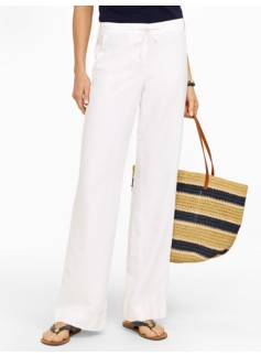 Linen Cotton Twill Wide Leg Pants