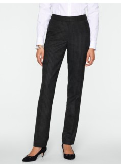 Heritage Italian Flannel Pinstriped Tailored Ankle Pants
