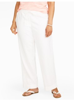 Woman Linen Cotton Wide-Leg Pants