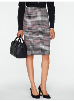 Rockingham Plaid Faux-Leather Trimmed Pencil Skirt