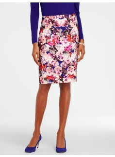 Mirrored Bouquet Pencil Skirt