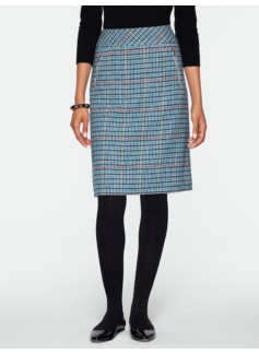 Wool Check A-Line Skirt