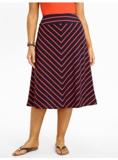 Diagonal Stripes Jersey-Knit Full Skirt