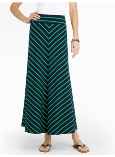 Diagonal-Stripes Maxi Skirt