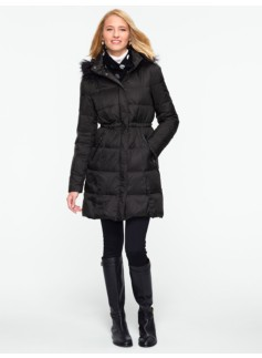 Long Puffer Coat with Faux Leather-Trimmed Pockets
