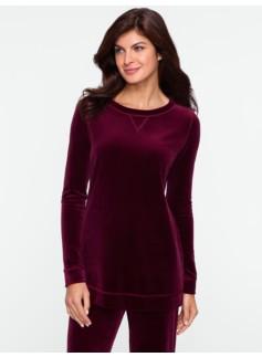 Tunic-Length Velour Sweatshirt