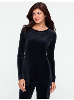 Tunic-Length Velour Sweatshirt