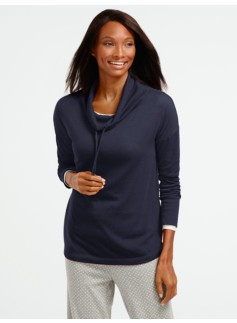 Textured Drawstring Cowlneck Top