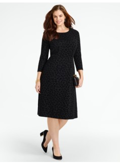 Flocked Animal-Print Ponte Dress