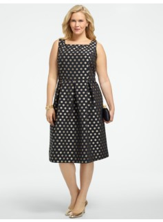 Polka-Dot Jacquard Dress