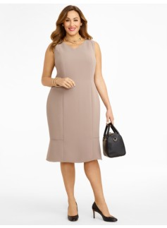 Seasonless Crepe Flounced Dress