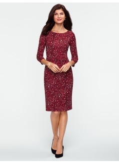City Jersey Pebble-Print Ruched-Wrap Dress